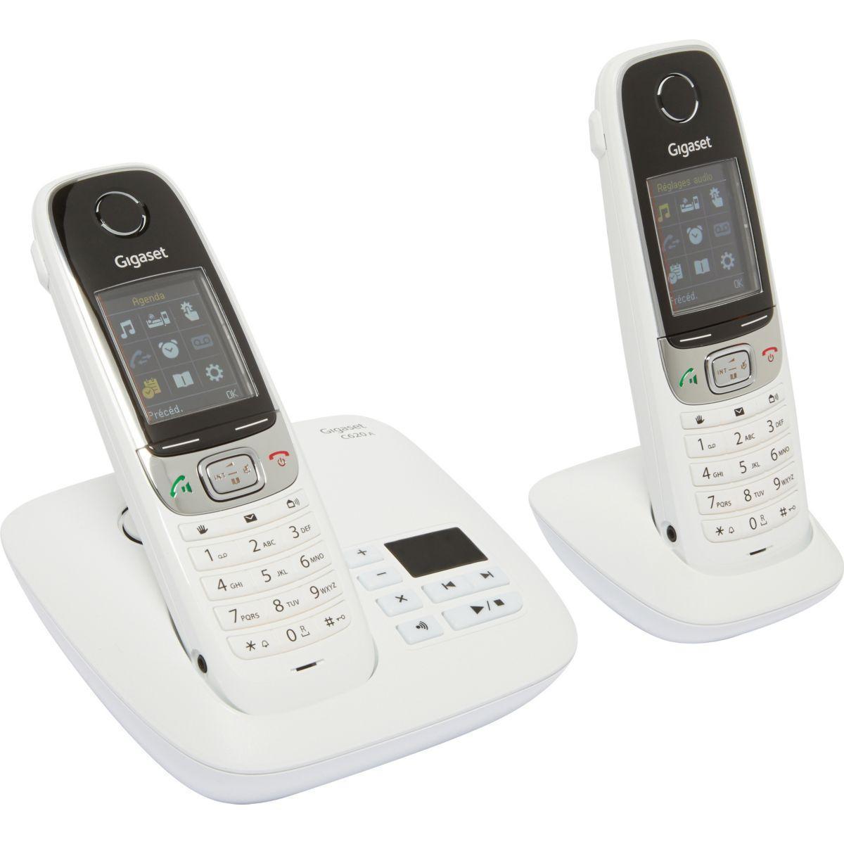 Pack promo téléphone répondeur sans fil duo gigaset c620a duo blanc + combiné téléphonique gigaset c620h blanc - livraison offerte avec le code livoff (photo)