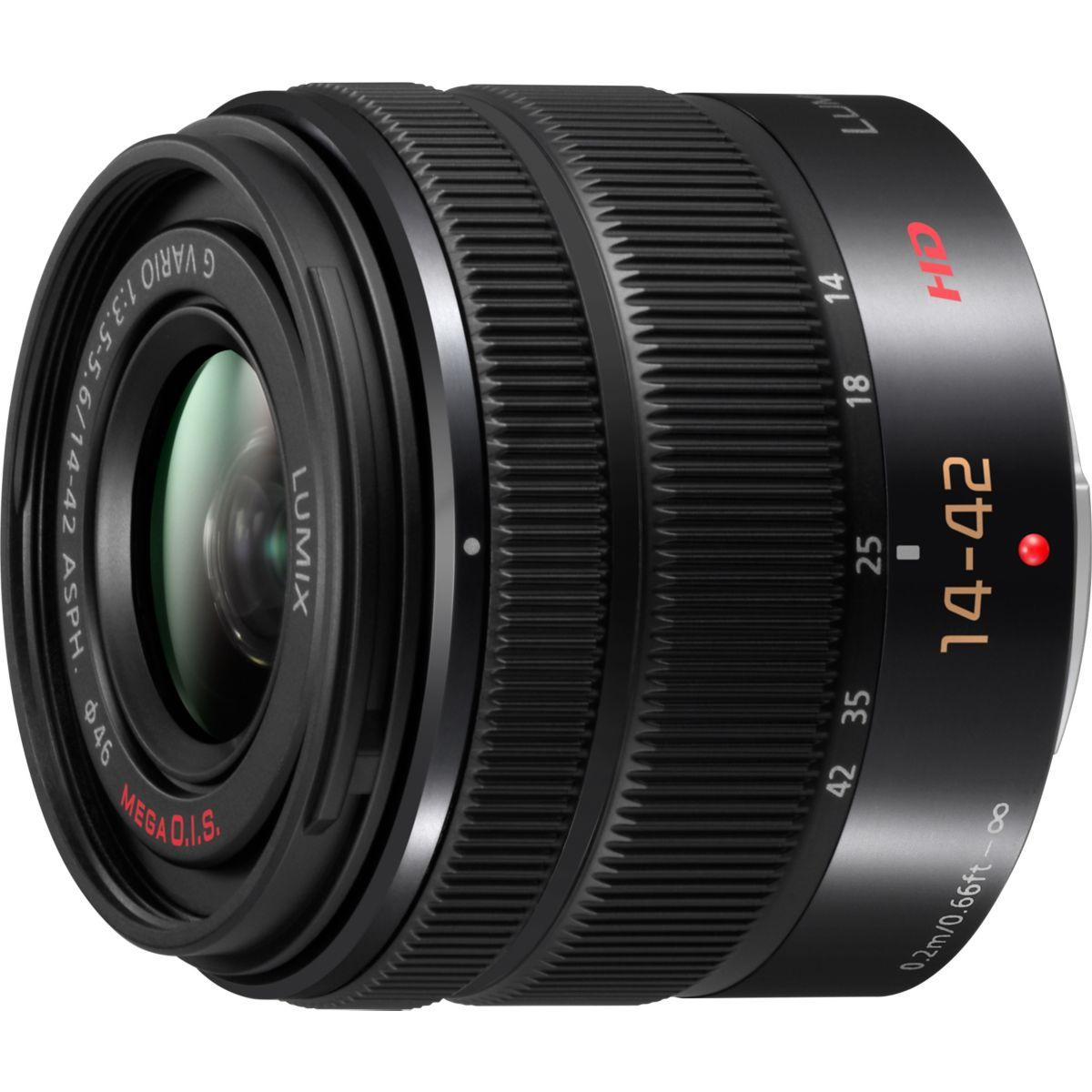 Objectif pour hybride panasonic 14-42mm f3.5-5.6 ii noir lumix...