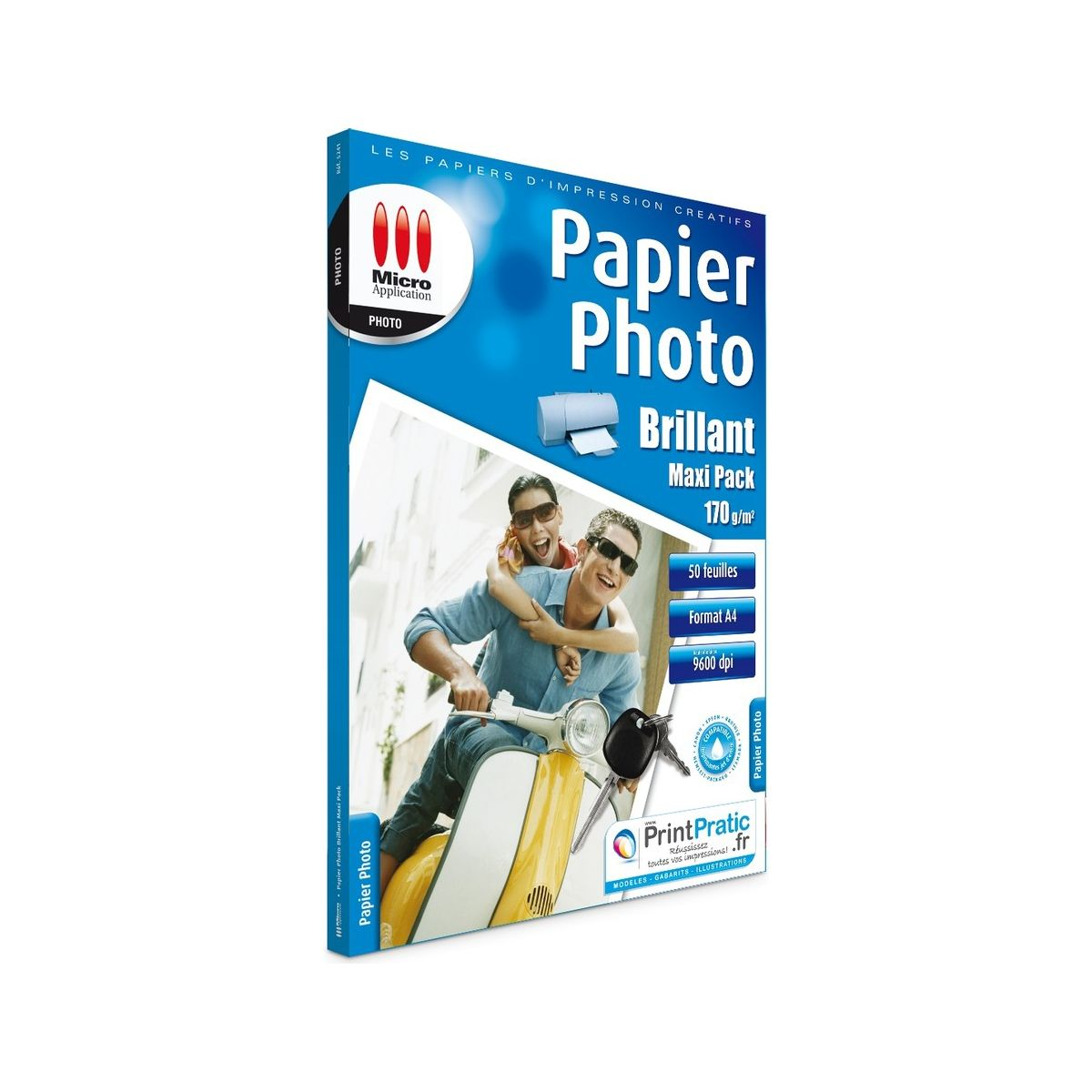 Papier photo micro application photo maxi pack a4 brillant 170g/m2 50 feuilles - 3% de remise immédiate avec le code : multi3 (photo)