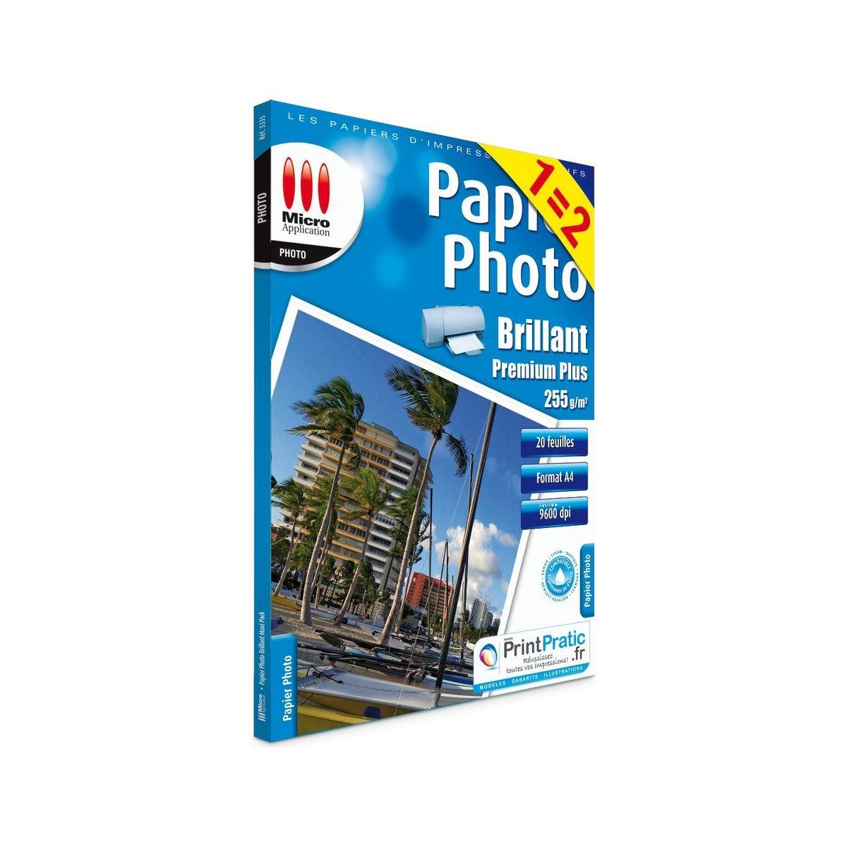Papier photo micro application photo 1=2 a4 brillant 255g/m2 20 feuilles + 20 feuilles - 3% de remise immédiate avec le code : multi3 (photo)