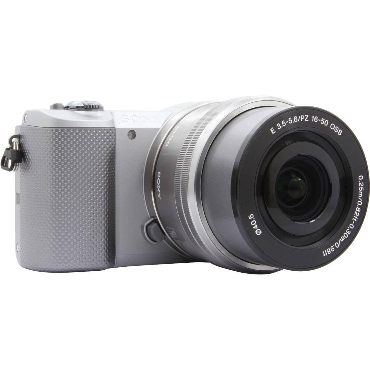 Appareil photo hybride sony a5000 gris + 16-50mm argent (photo)