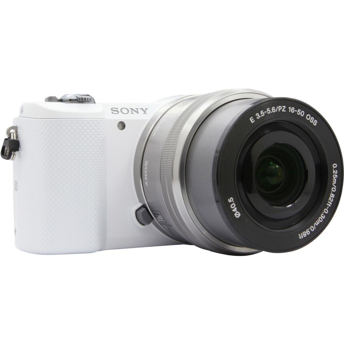 Appareil photo hybride sony a5000 blanc + 16-50mm argent (photo)