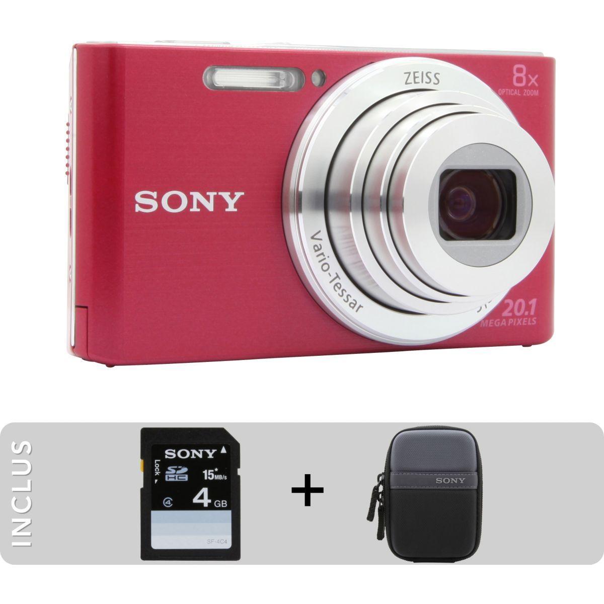 Appareil photo compact sony pack dsc-w830 rose + etui + sd 4go - livraison offerte : code livphoto (photo)