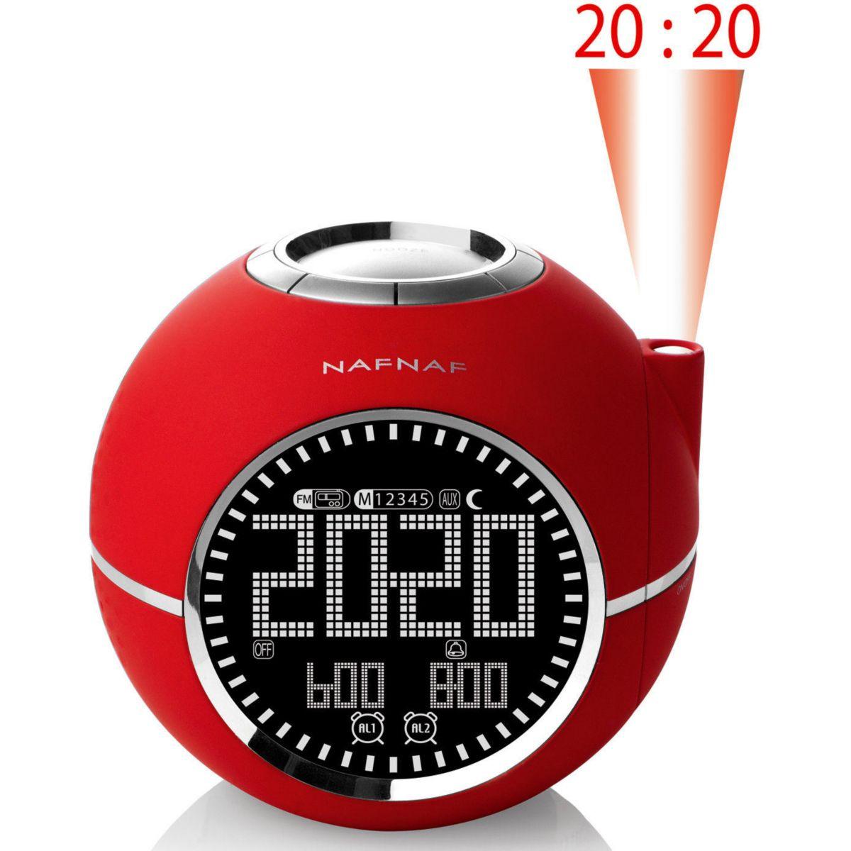 Radio-réveil nafnaf clockine rouge - 5% de remise : code multi5 (photo)