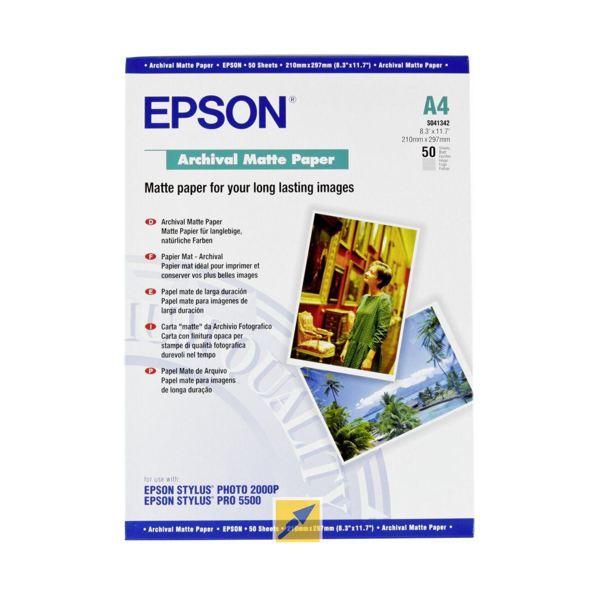 Papier photo epson mat archival a4 50 feuilles 192g (photo)