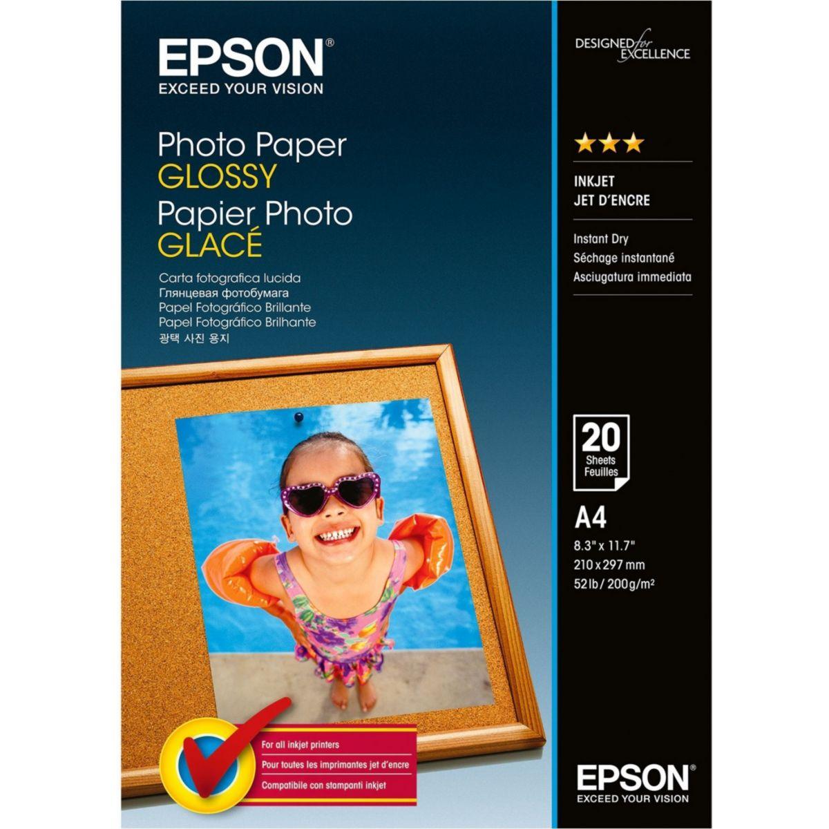 Papier photo epson glacé 200g a4 20 feuilles - produit coup de coeur webdistrib.com ! (photo)