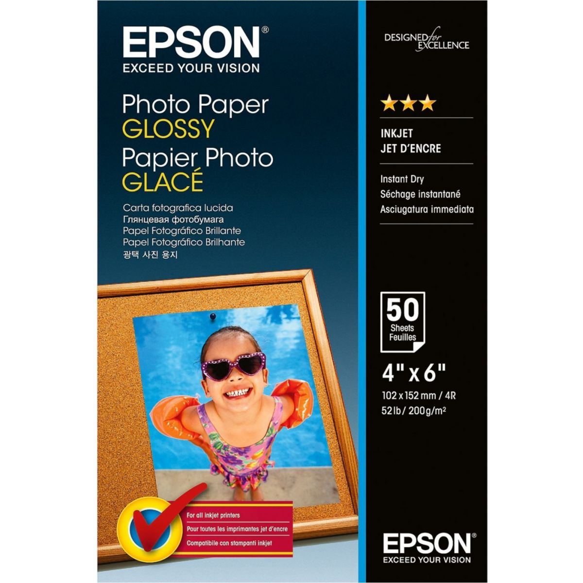 Papier photo epson glac� 200g 10x15 50feuilles (photo)