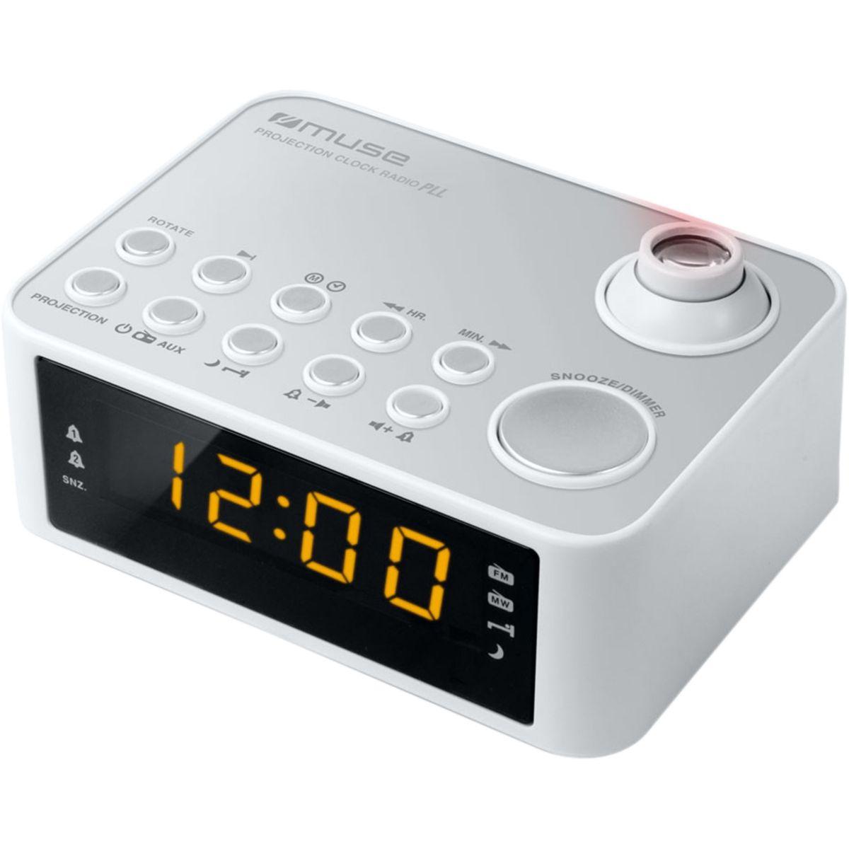 Radio-réveil muse m-178 p blanc - 5% de remise : code multi5 (photo)