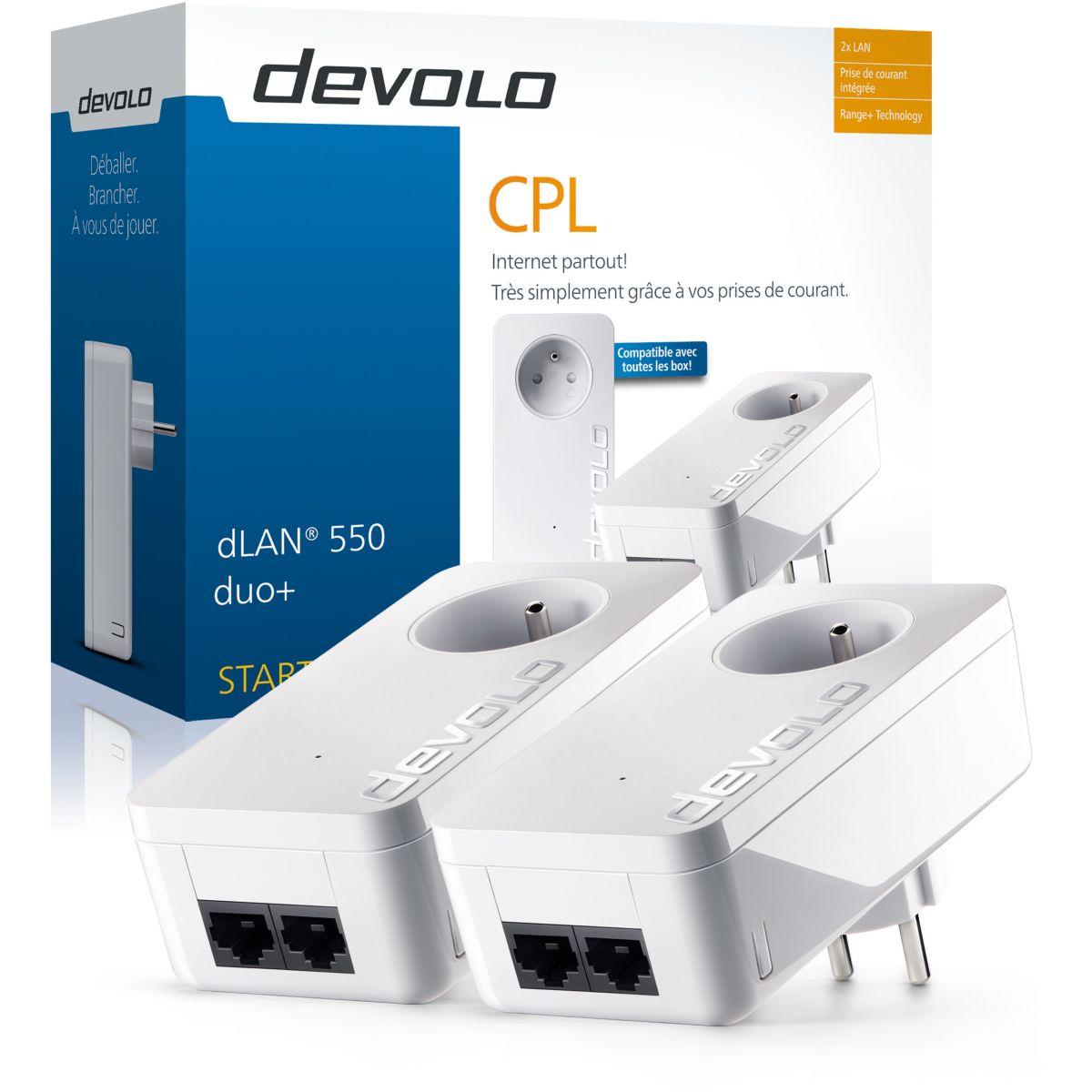 Cpl duo devolo dlan 550 + starter kit - livraison offerte : code liv