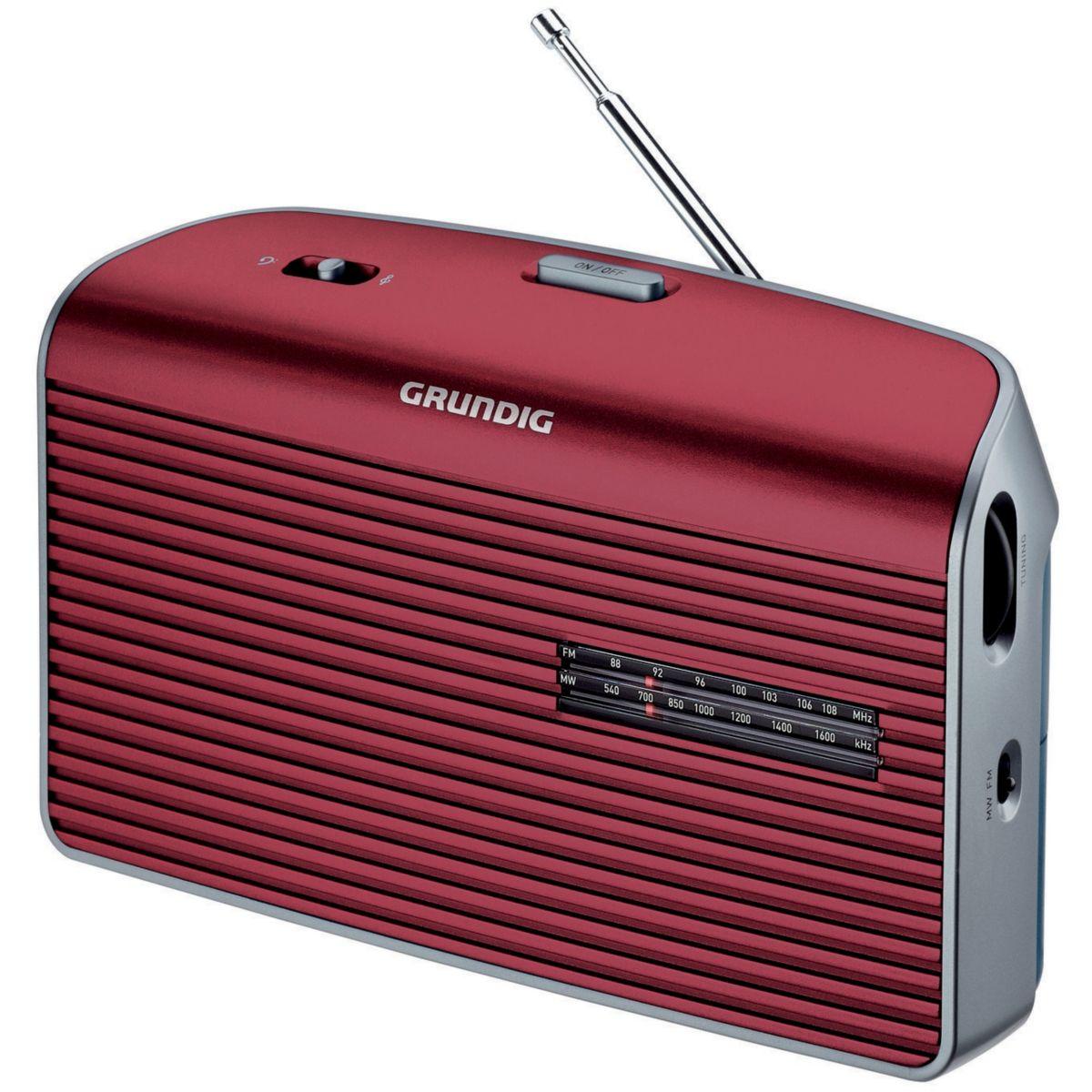 Radio grundig music 60 l rouge - livraison offerte : code liv (photo)