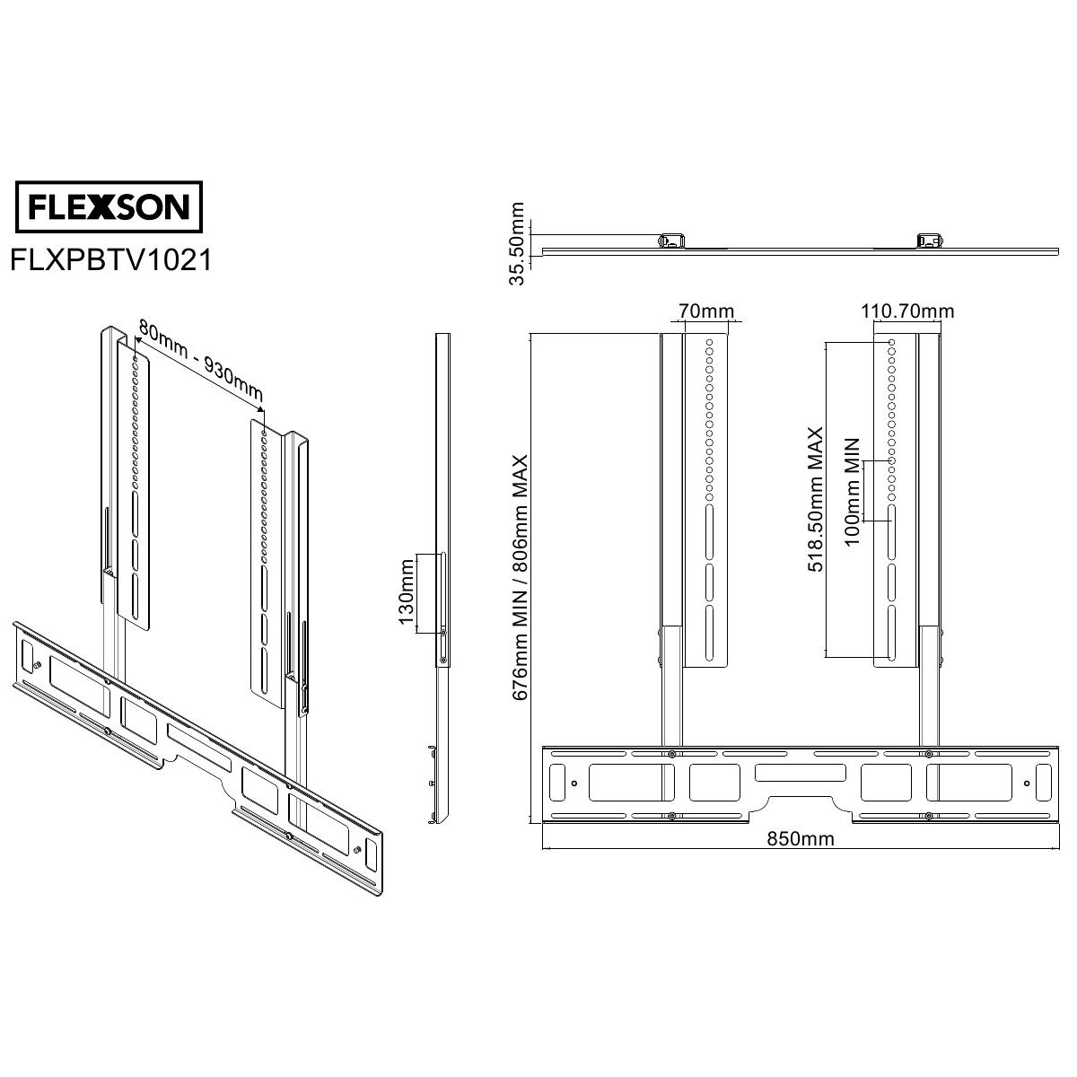 Support flexson sonos playbar + tv fixe - 20% de remise immédiate avec le code : multi20 (photo)
