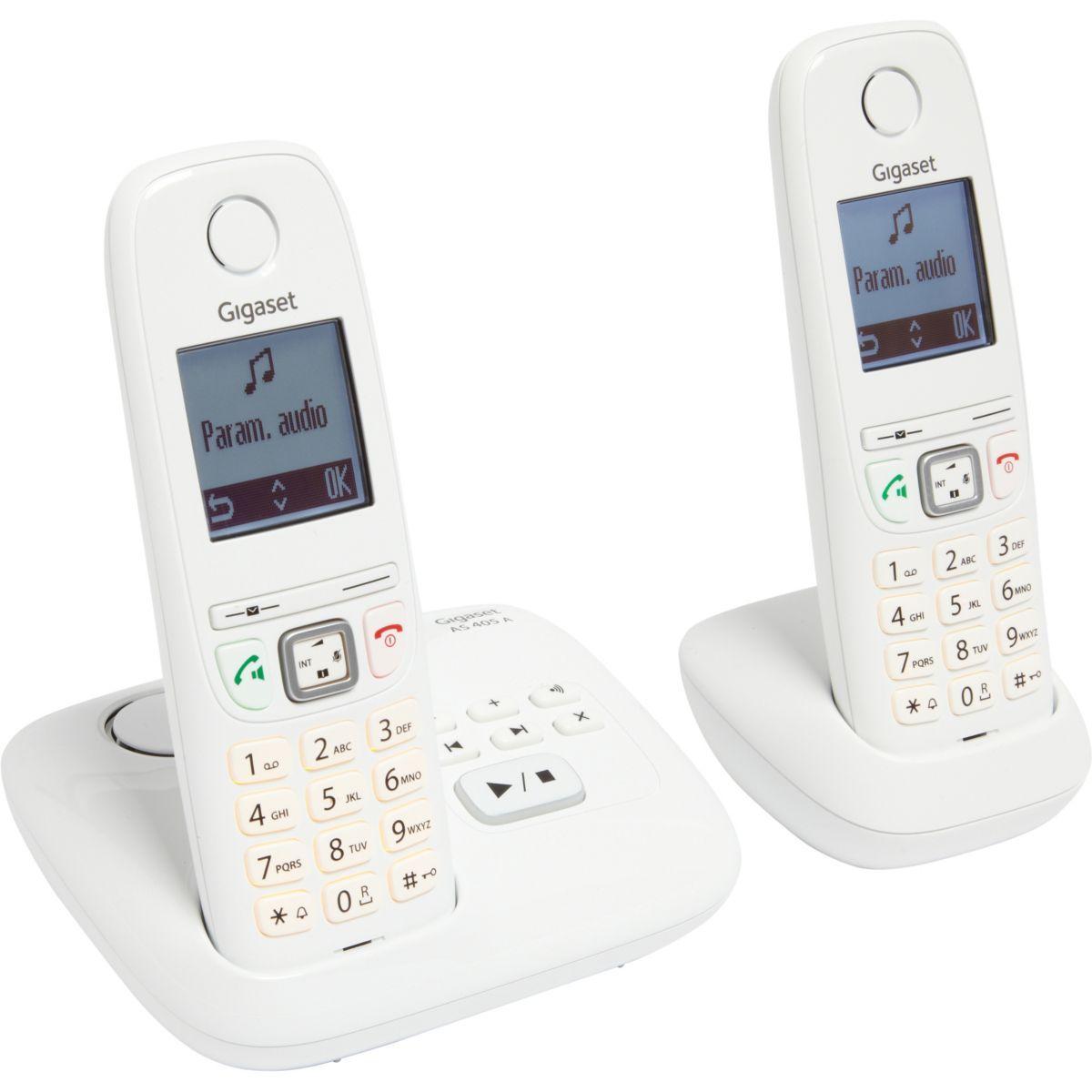Téléphone répondeur sans fil duo gigaset as405a blanc (photo)