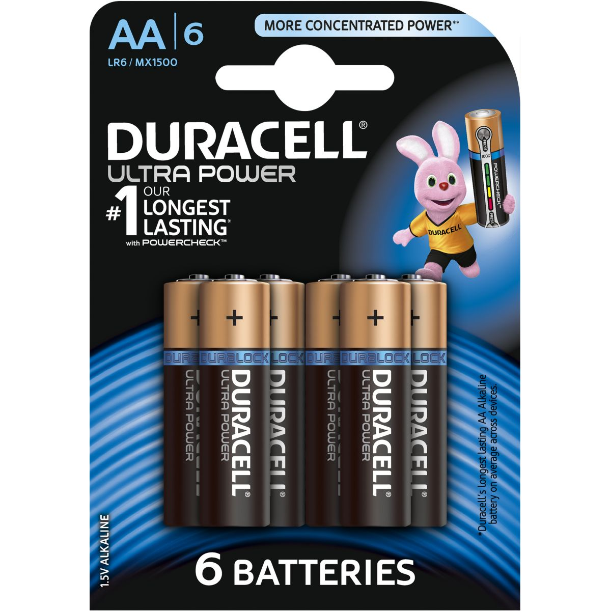 Pile non rechargeable duracell aa x6 ultra power lr06 (photo)