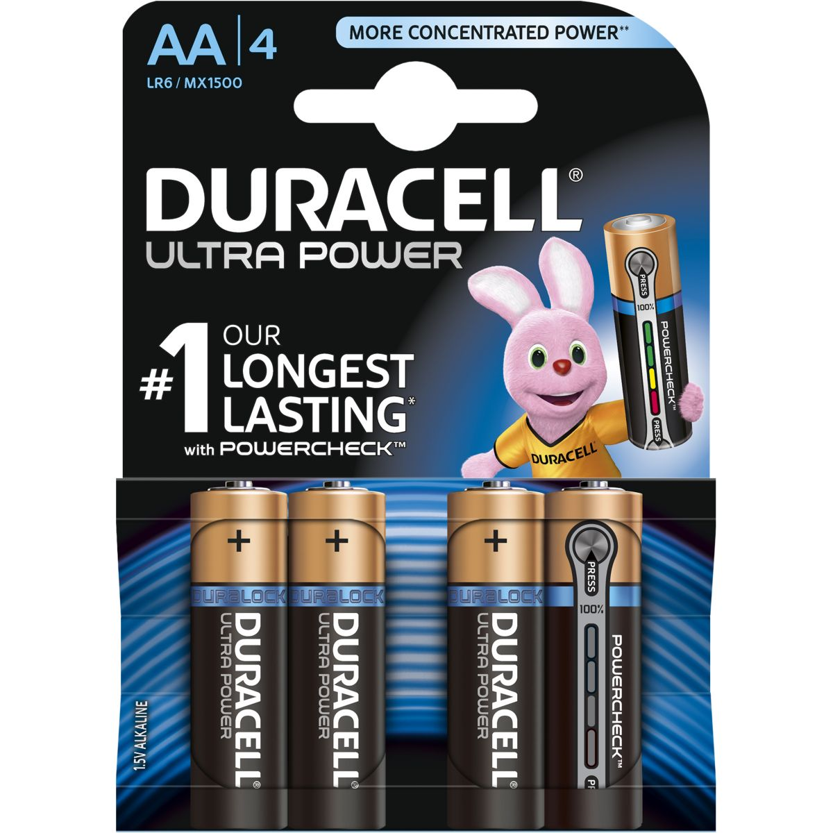 Pile non rechargeable duracell aa x4 ultra power lr06 (photo)