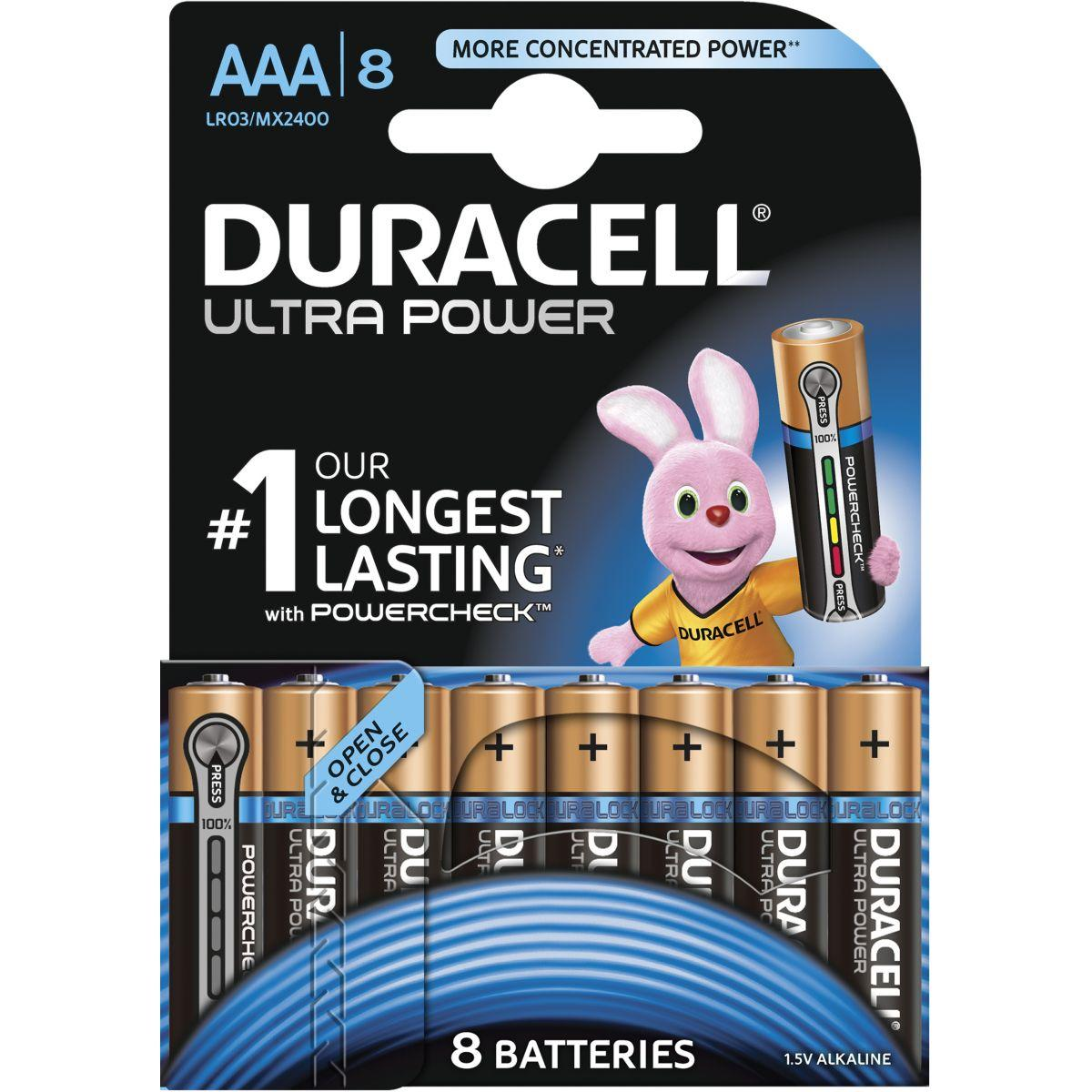 Pile non rechargeable duracell aaa x8 ultra power lr03 (photo)