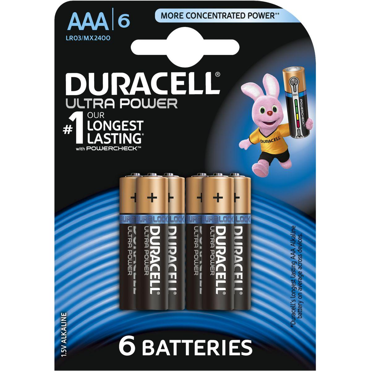 Pile non rechargeable duracell aaa x6 ultra power lr03 (photo)