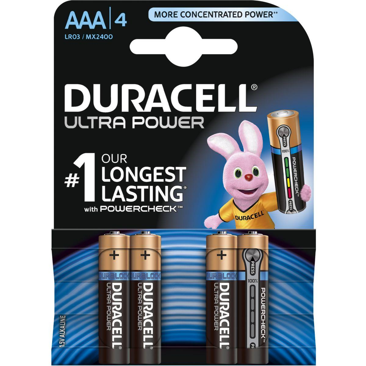 Pile non rechargeable duracell aaa x4 ultra power lr03 (photo)