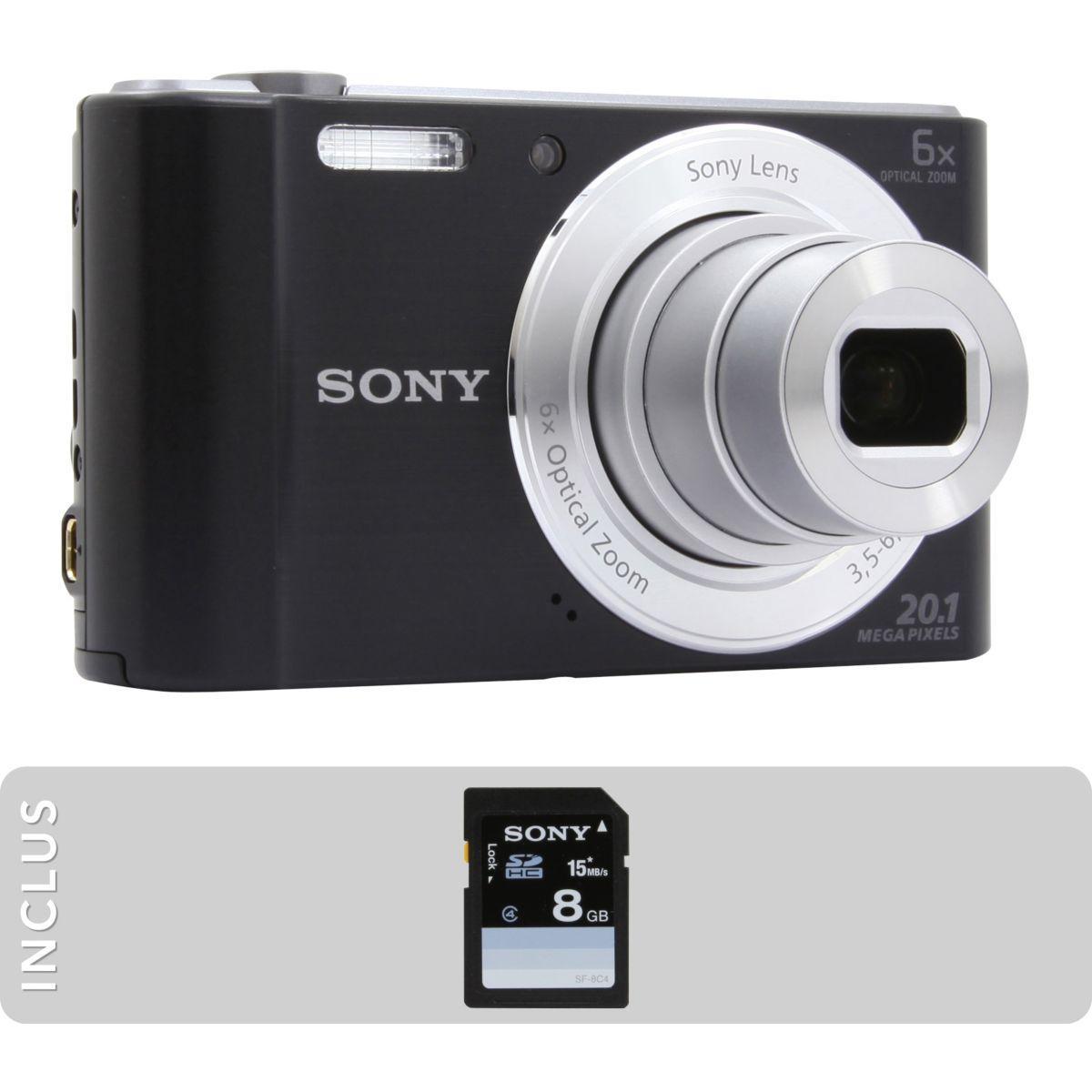 Appareil photo compact sony pack dsc-w810 noir + sd 8go - livraison offerte : code livphoto (photo)