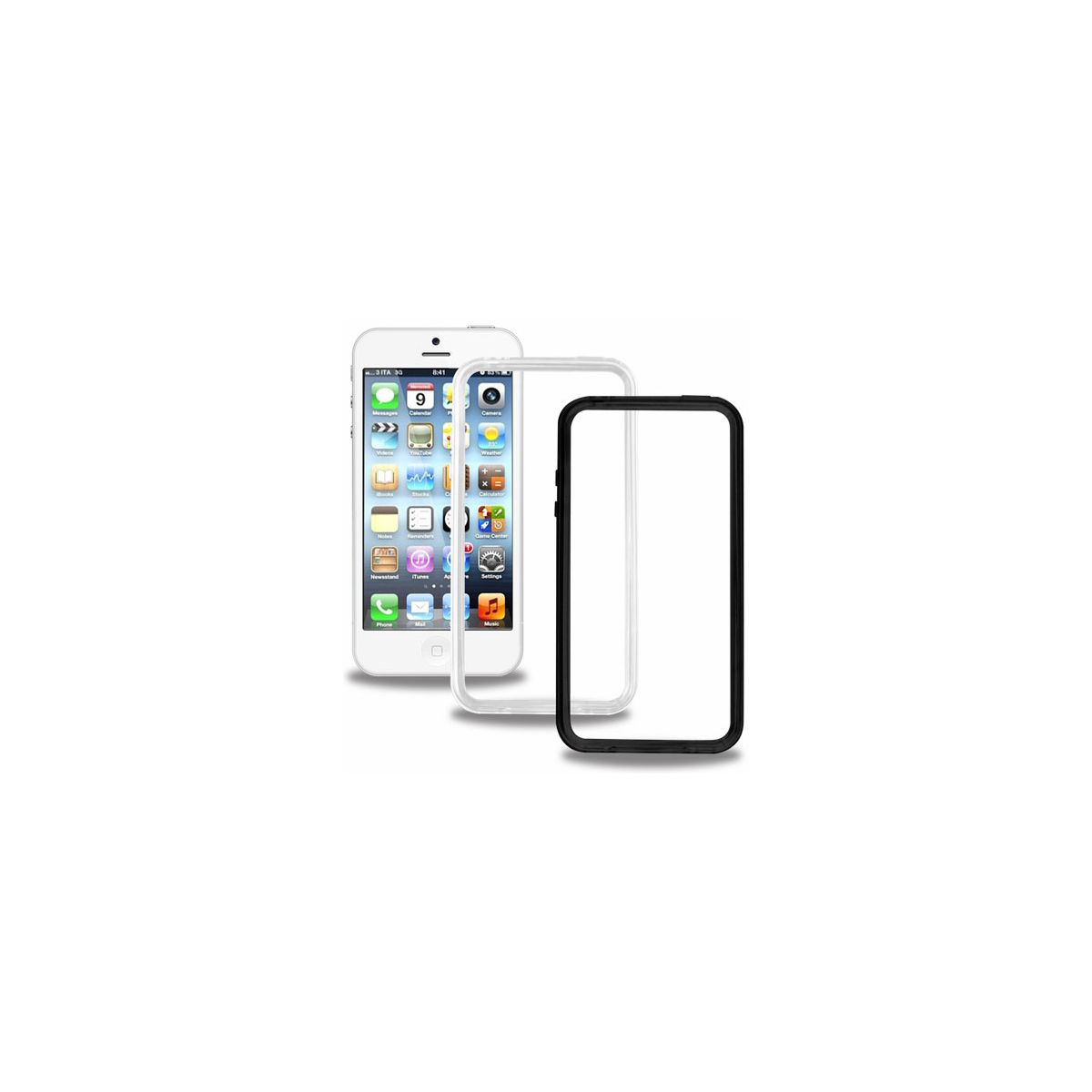 Bumper blueway iphone 5/5s noir/transparent x2 + pe - 15% de remise immédiate avec le code : multi15 (photo)
