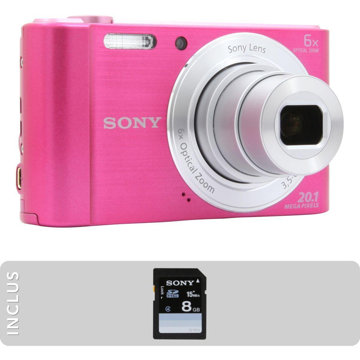 Appareil photo compact sony pack dsc-w810 rose + sd 8go - livraison offerte : code livphoto (photo)