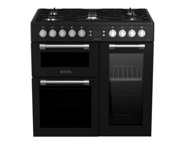 Pack promo cuisinière grande largeur leisure ck90f320kg + hotte décorative 90cm leisure h90k + crédence falcon cred90 noir sans badge (photo)