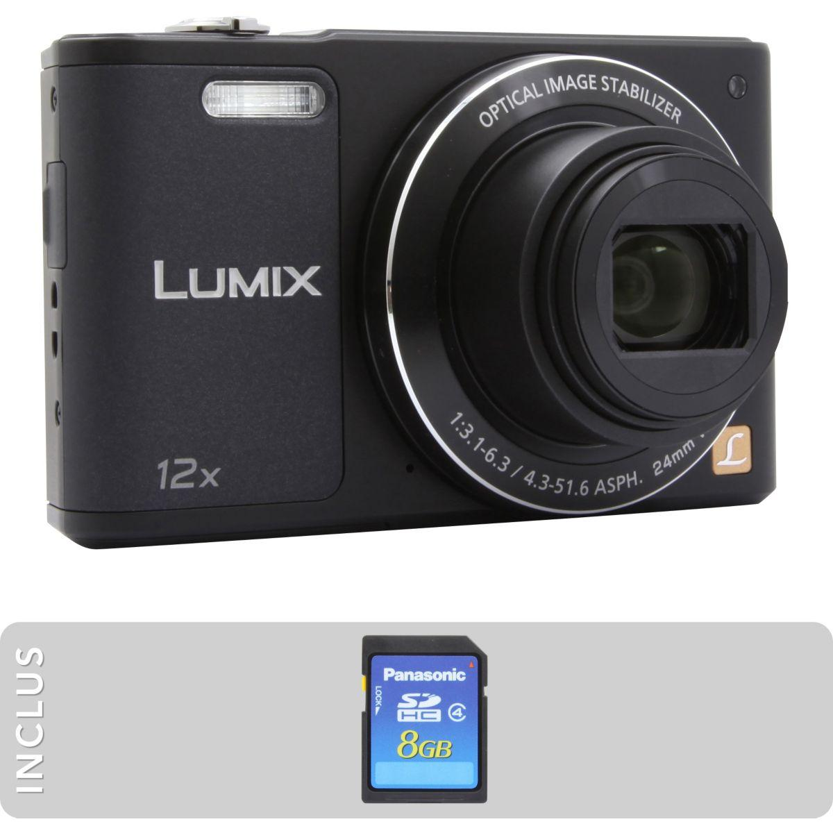 Appareil photo compact panasonic pack dmc-sz10 noir + sd 8go (photo)