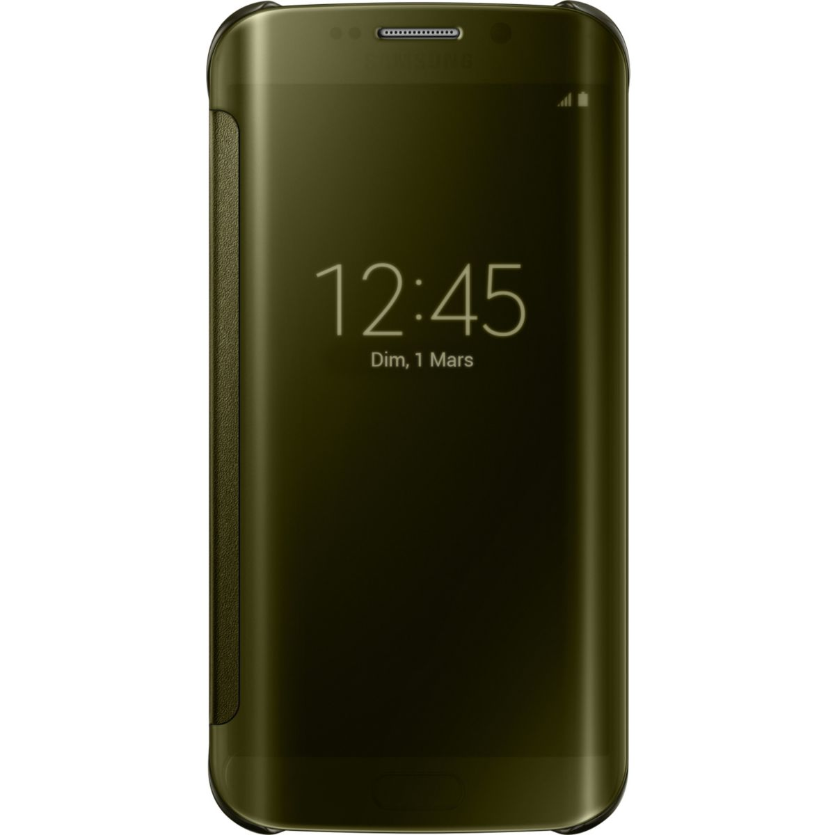 Etui samsung clear view cover galaxy s6 edge gold - soldes et bons plans