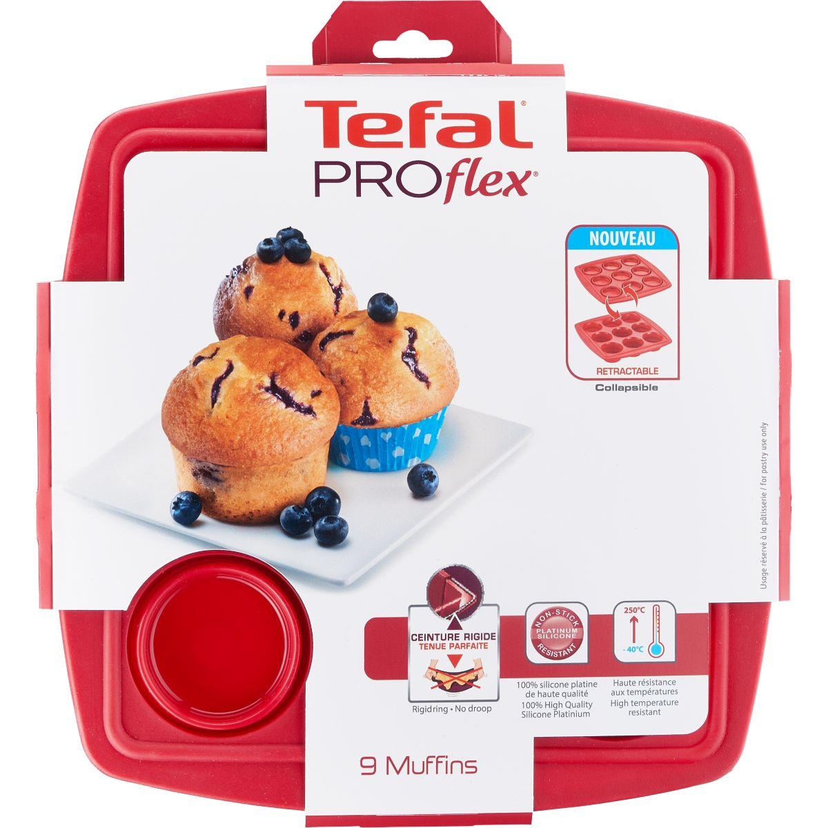 Moule en silicone tefal proflex r�tractable 9 muffins (photo)