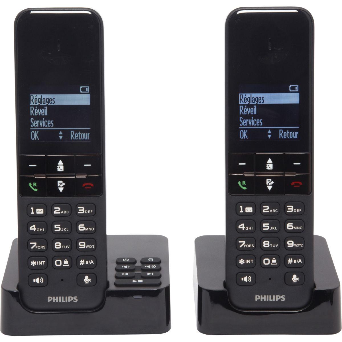 Téléphone répondeur sans fil duo philips d455 noir - 3% de remise immédiate avec le code : multi3 (photo)