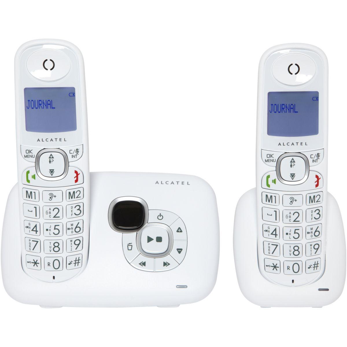 Téléphone répondeur sans fil duo alcatel xl 375 voice blanc (photo)