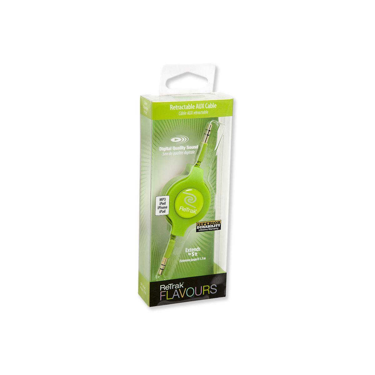 Câble retrak stéréo jack 3,5mm vert - 7% de remise immédiate avec le code : cool7 (photo)