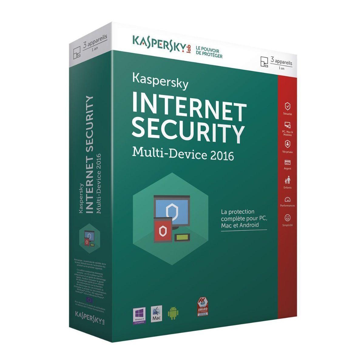 Logiciel pc kaspersky internet security 2016 – 10 € de remise : code cash10