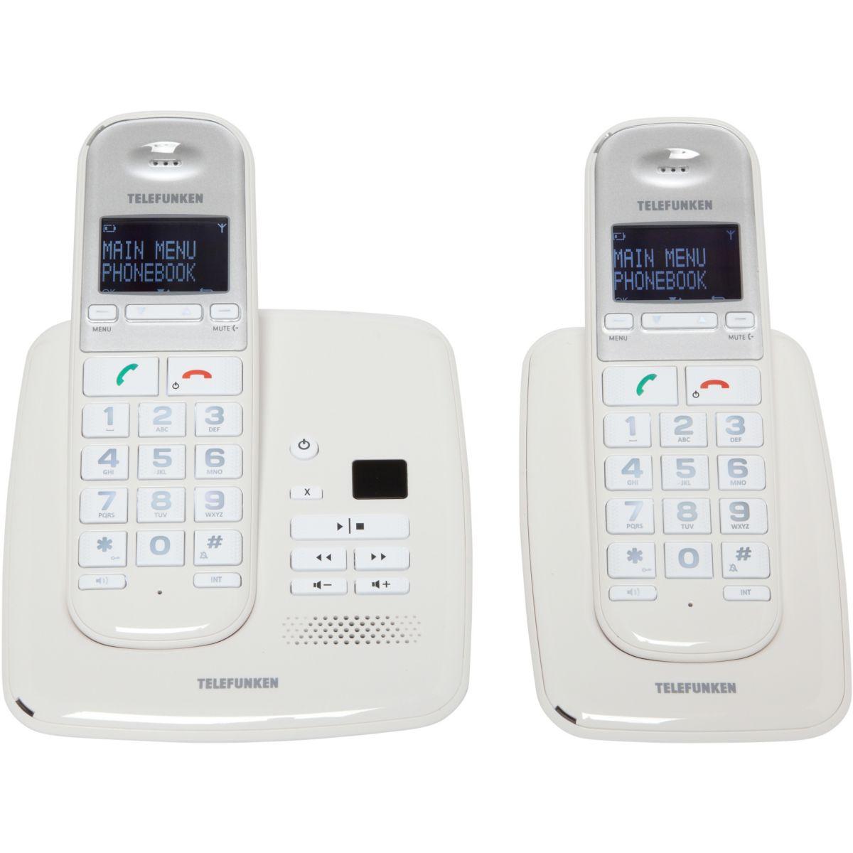 Téléphone répondeur sans fil duo telefunken pillow td352 blanc - 10% de remise immédiate avec le code : multi10 (photo)