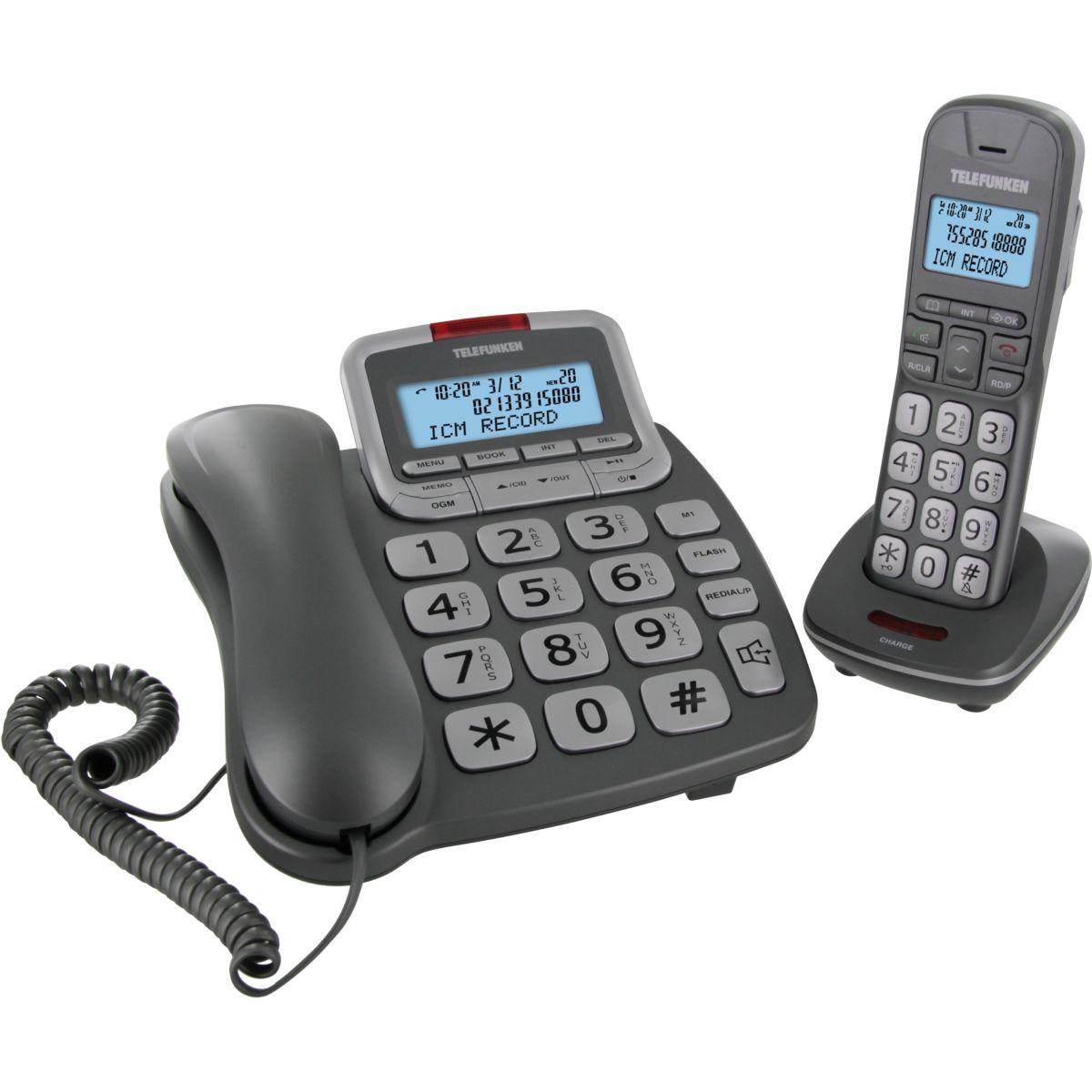Téléphone répondeur filaire telefunken cosi tf652 duo argent - 20% de remise immédiate avec le code : cool20 (photo)