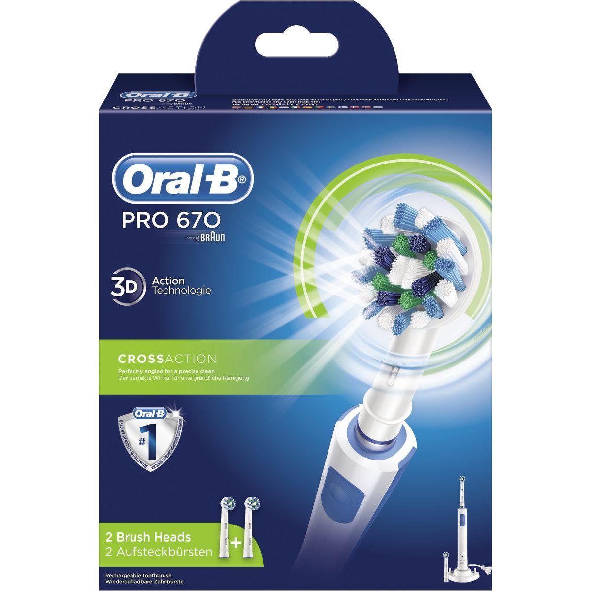 Brosse � dents oral-b pro 670 cross action - livraison offerte : code liv (photo)