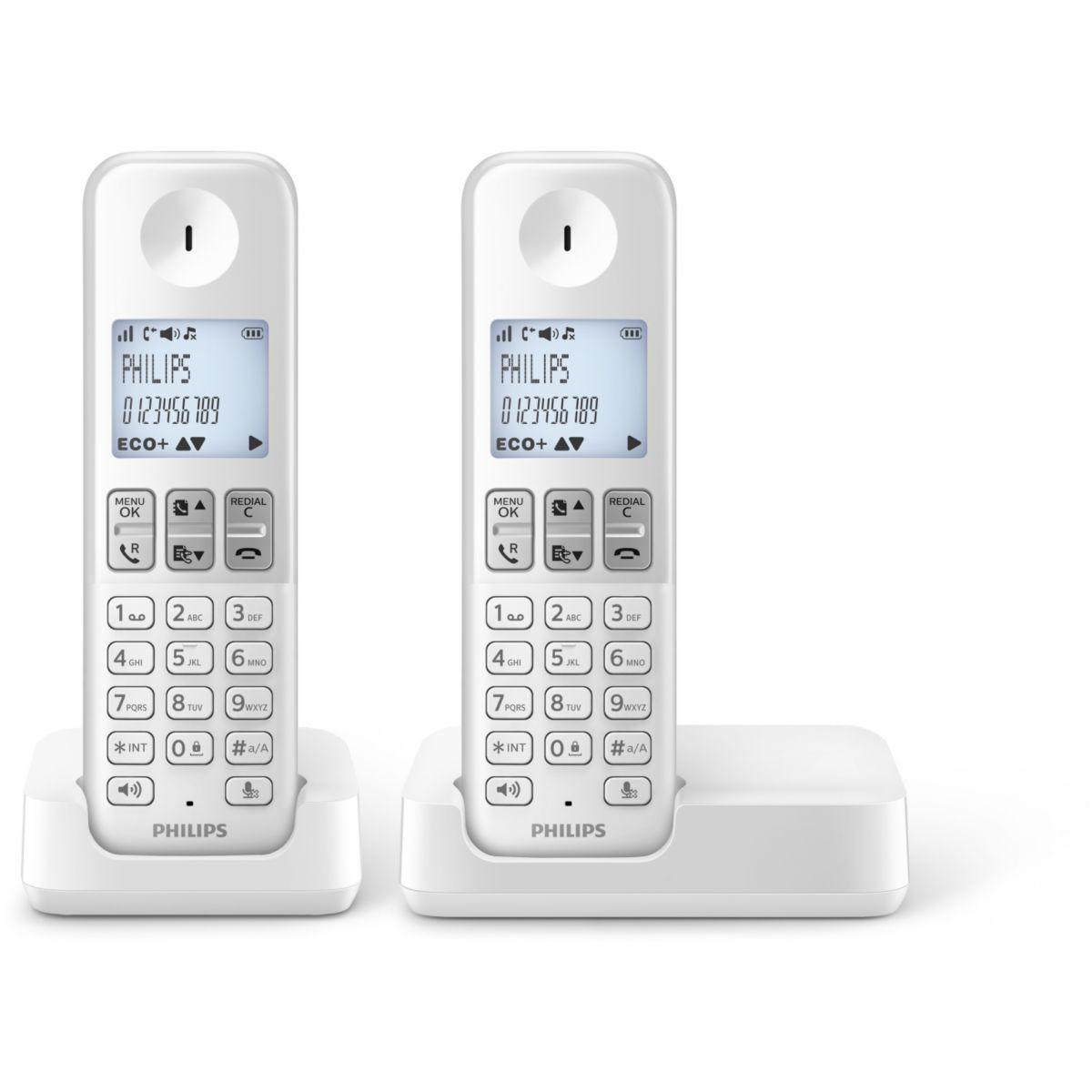 Téléphone sans fil duo philips d2302w/fr blanc - soldes et bons plans