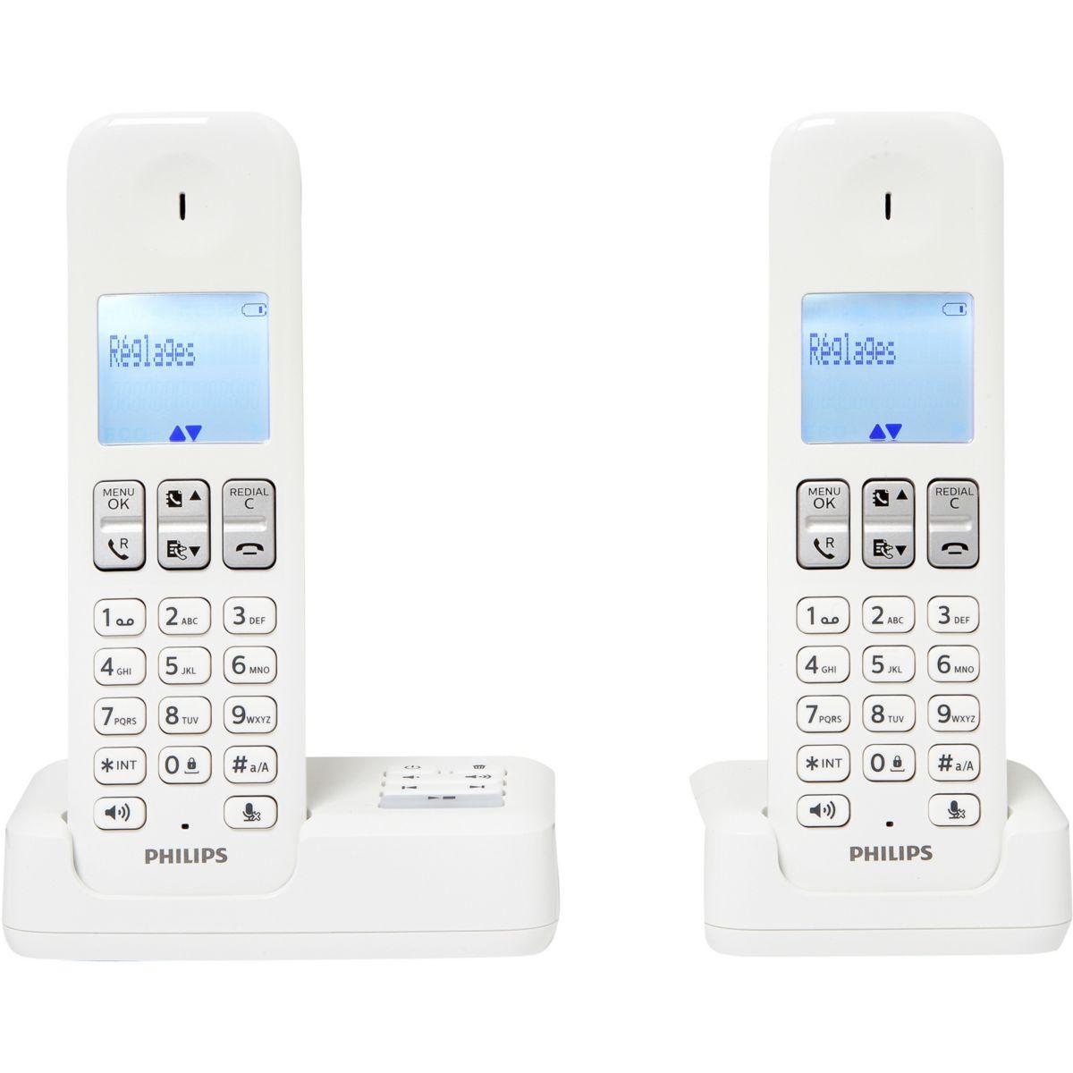 Téléphone répondeur sans fil duo philips d2352w/fr blanc - 3% de remise immédiate avec le code : multi3 (photo)