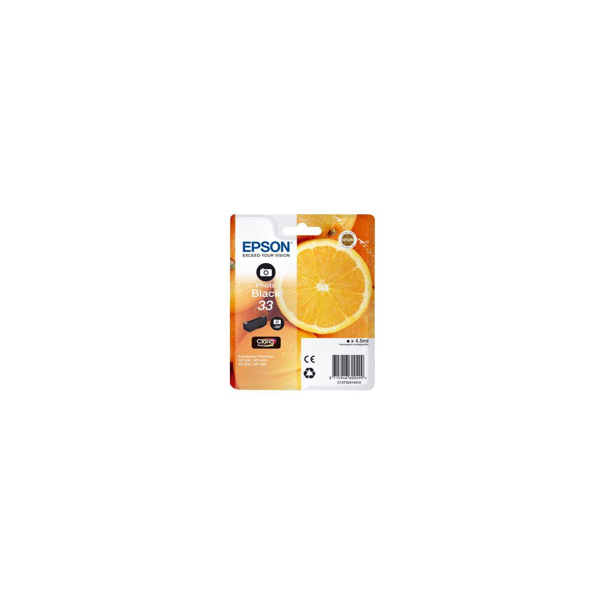 Cartouche d'encre epson t3341 noire photo premium s�rie orange