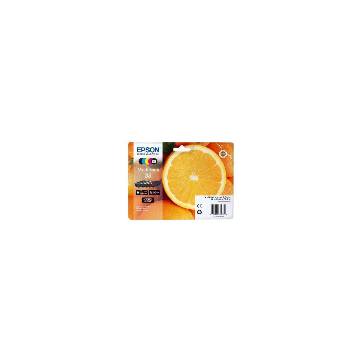 Multipack cartouches d'encre epson t3337 (n/np/c/m/j) premium s�rie orange