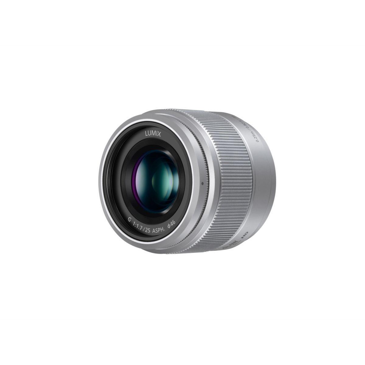 Objectif pour hybride panasonic 25mm f/1.7 silver lumix g - 5% de remise imm�diate avec le code : deal5