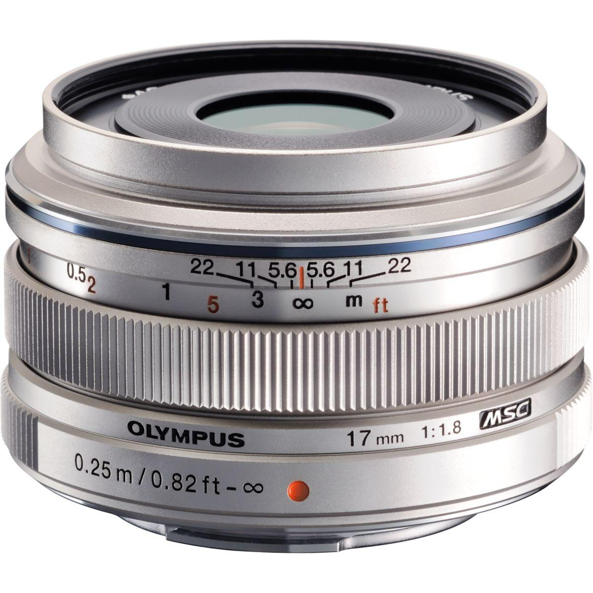 Objectif pour hybride olympus 17mm f/1.8 silver m.zuiko