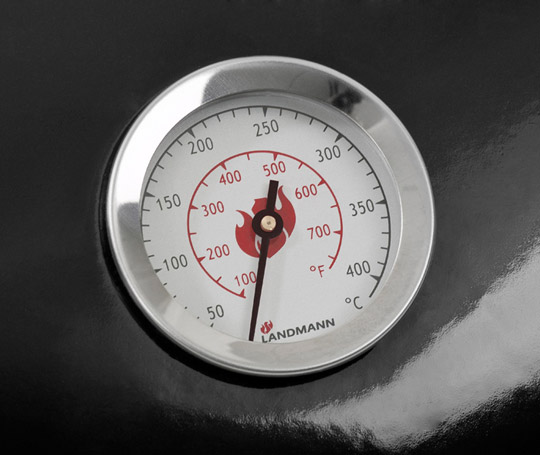 Thermom�tre int�gr� sur couvercle landmann Black pearl select