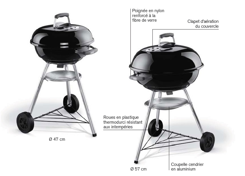 barbecue charbon weber compact kettle 47 cm black barbecue charbon. Black Bedroom Furniture Sets. Home Design Ideas