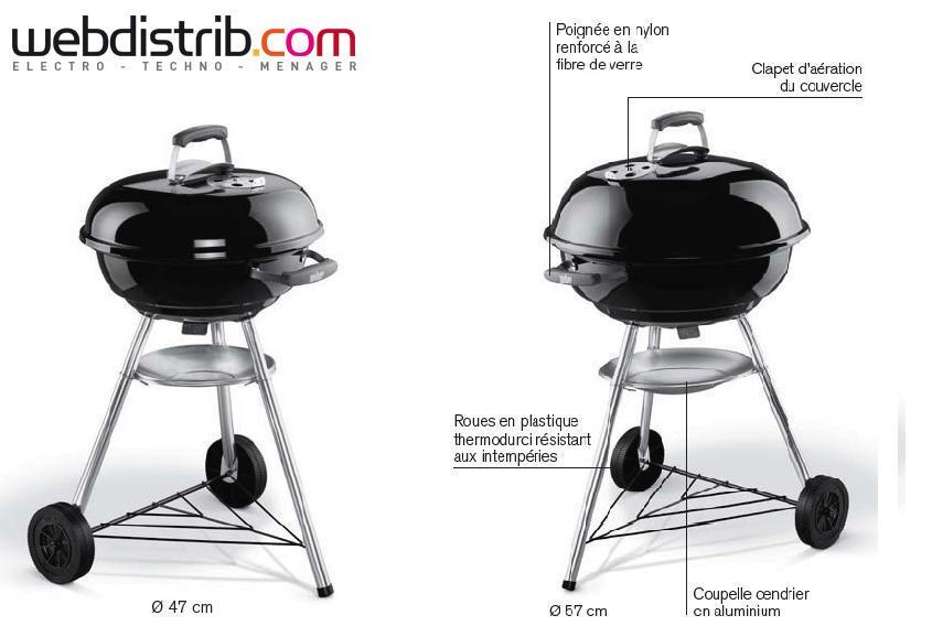 barbecue charbon compact kettle 57 cm noir weber. Black Bedroom Furniture Sets. Home Design Ideas